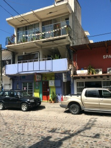 Yoga Vallarta Studio. The entrance is in purple on the right and the studio is on the 3rd floor.