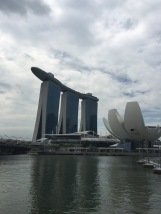 The Helix Bridge, Marina Sands Hotel, and the Art and Science Museum.